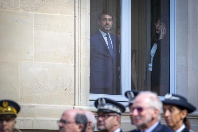 L'ancien ministre de l'intérieur Christophe Castaner, lors de la passation des pouvoirs avec son successeur, Gérald Darmanin, le 7 juillet 2020.