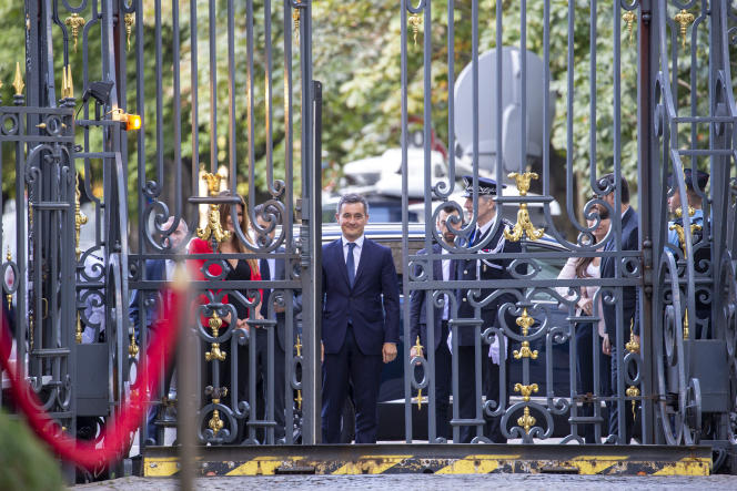 Gérald Darmanin avant sa prise de fonction en remplacement de Christophe Castaner, place Beauvau à Paris, le 7 juillet.