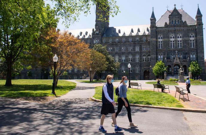 Le campus de l'université de Georgetown, à Washington, alors que les cours sont enseignés en ligne du fait de l'épidémie de Covid-19, le 7 mai.