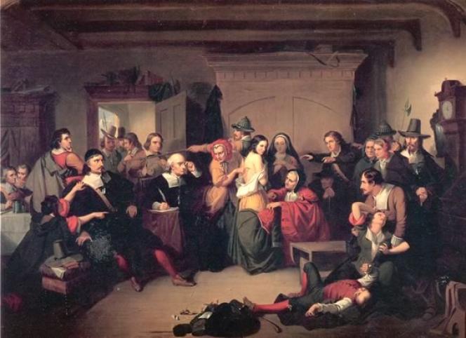 Examen d'une sorcière pendant un procès, par Thomkins H. Matteson, 1853 (Collection du Peabody Essex Museum).