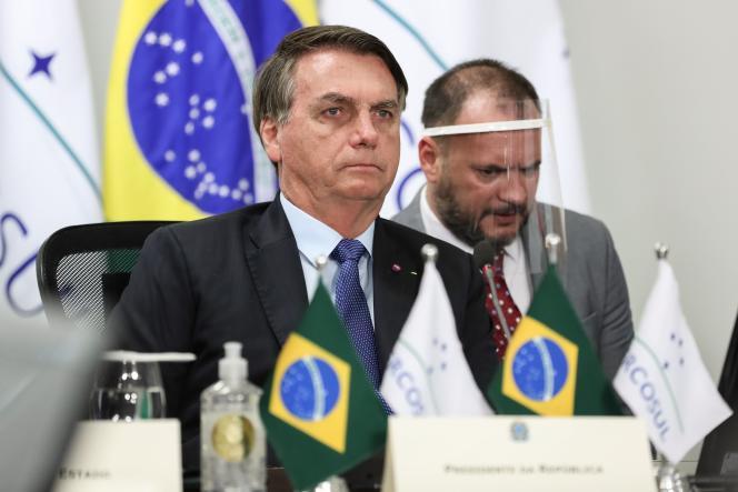 Jair Bolsonaro lors d'une visioconférence à l'occasion du sommet du Mercosur, à Brasilia, le 2 juillet.