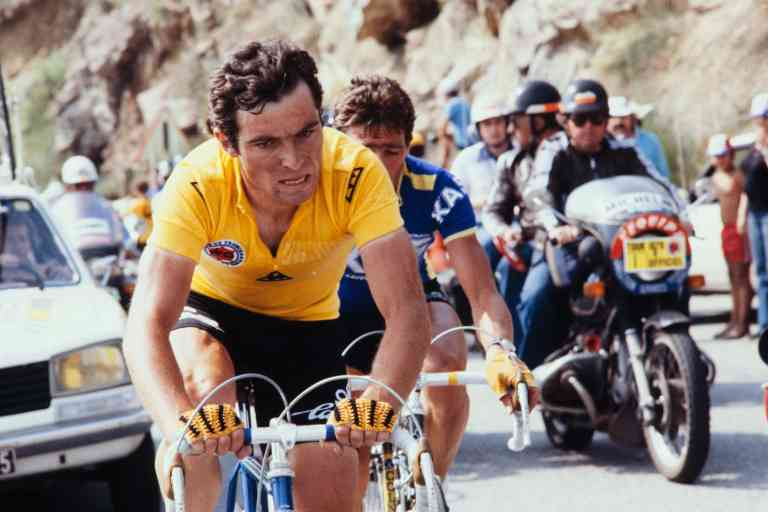 (FILES) In this file photo taken on July 1, 1979, French cyclist Bernard Hinault takes part in the 18th stage of the 66th edition of the Tour de France, in the Alps. Bernard Hinault, the last French winner and one of the legendary champions of the Tour de France, has also experienced setbacks, the most important of which was his secret departure from Pau, on 9 July 1980, due to a recalcitrant knee. / AFP / -