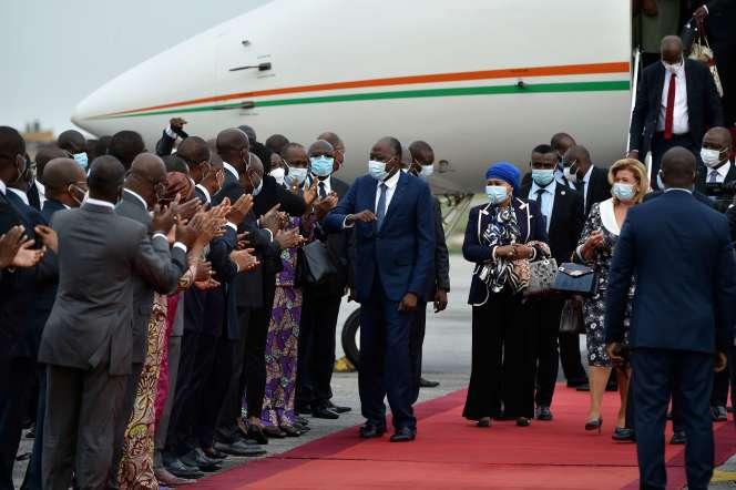 Le premier ministre ivoirien, Amadou Gon Coulibaly, de retour de sa convalescence en France, à Abidjan, le 2 juillet.