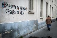Un tag féministe à Paris dénonce la 45e cérémonie des Césars, qui a célébré Roman Polanski.