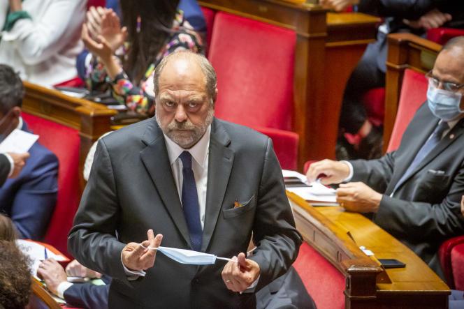 Eric Dupond-Moretti, ministre de la justice, participe à la séance de questions au gouvernement à l'Assemblée nationale, mercredi 8 juillet.