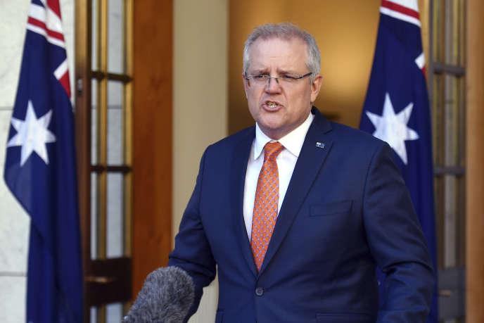 Le premier ministre australien, Scott Morrison, lors d'une conférence de presse à Canberra, le 9 juillet.