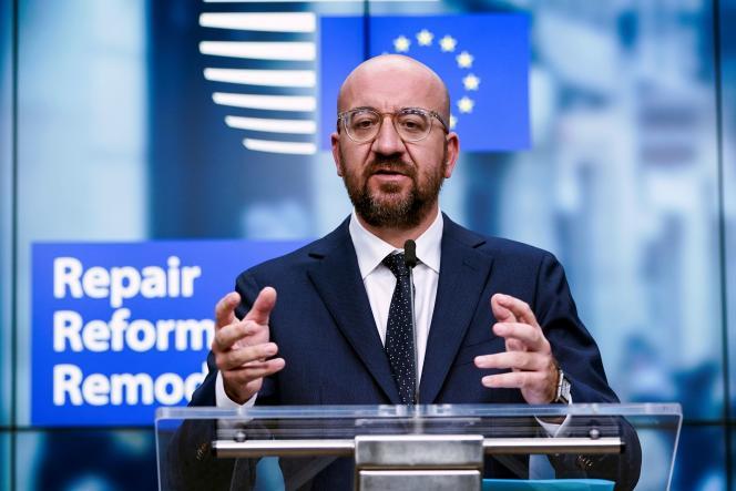 Charles Michel, le président du Conseil européen,lors d'un sommet extraordinaire des chefs d'Etat et de gouvernement, à Bruxelles, le 10 juillet.