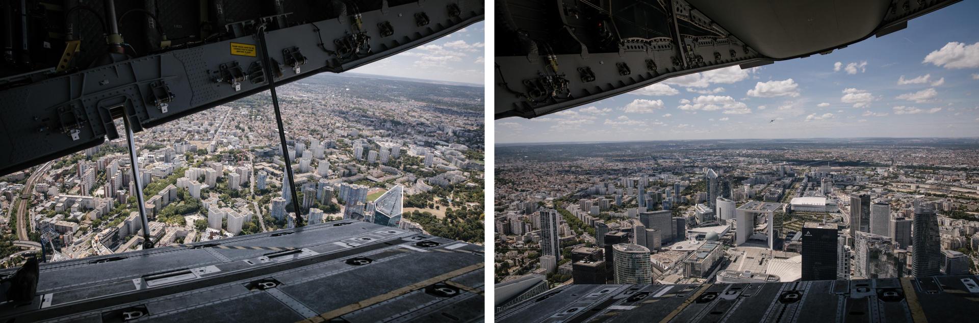 La rampe de l'A400M est ouverte pour observer la vue. Ici Nanterre et la Défense, le 9juillet.