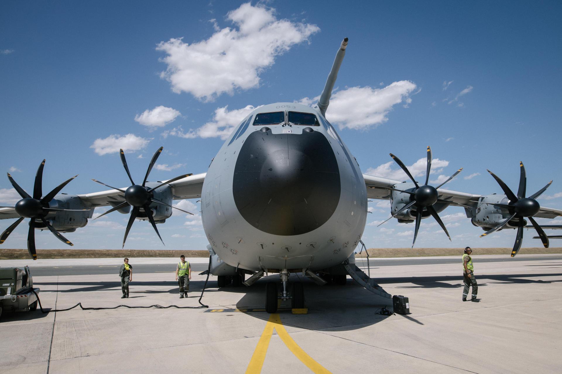 L'avion militaire A400M, de retour à la base militaire d'Orléans-Bricy, le 9 juillet.