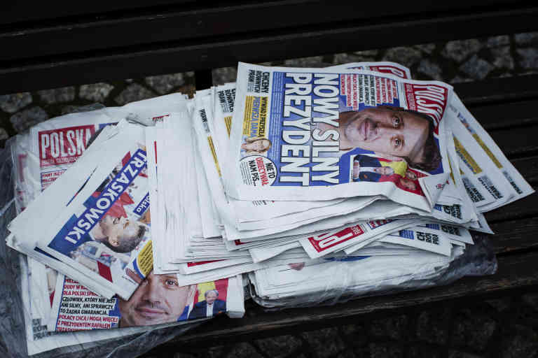 Some campaign newspapers and pamphlets of Rafal Trzaskowski, the current major of Warsaw and opposition candidate for president. Minsk Mazowiecki, Poland, 08.07.2020