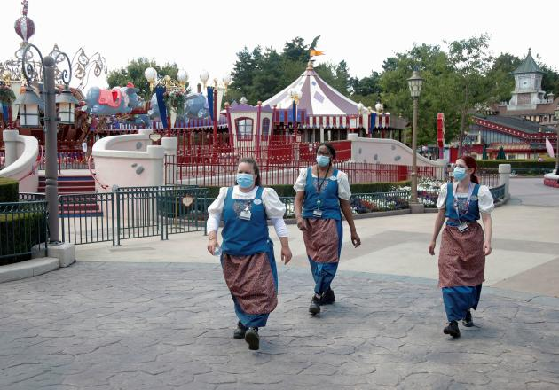 Le parc d'attractions Disneyland Paris, à Marne-la-Vallée (Seine-et-Marne), à quelques jours de sa réouverture, le 9juillet.