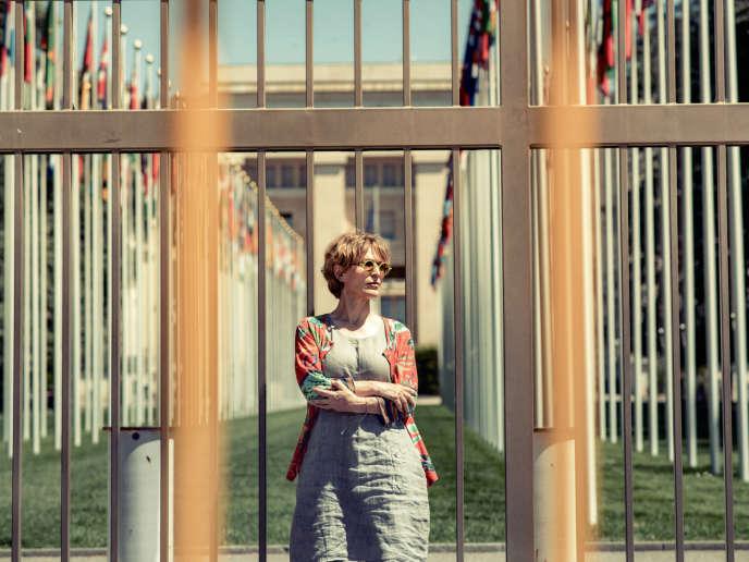 Agnès Callamard devant l'office des Nations unies, à Genève, le 8juillet 2020.
