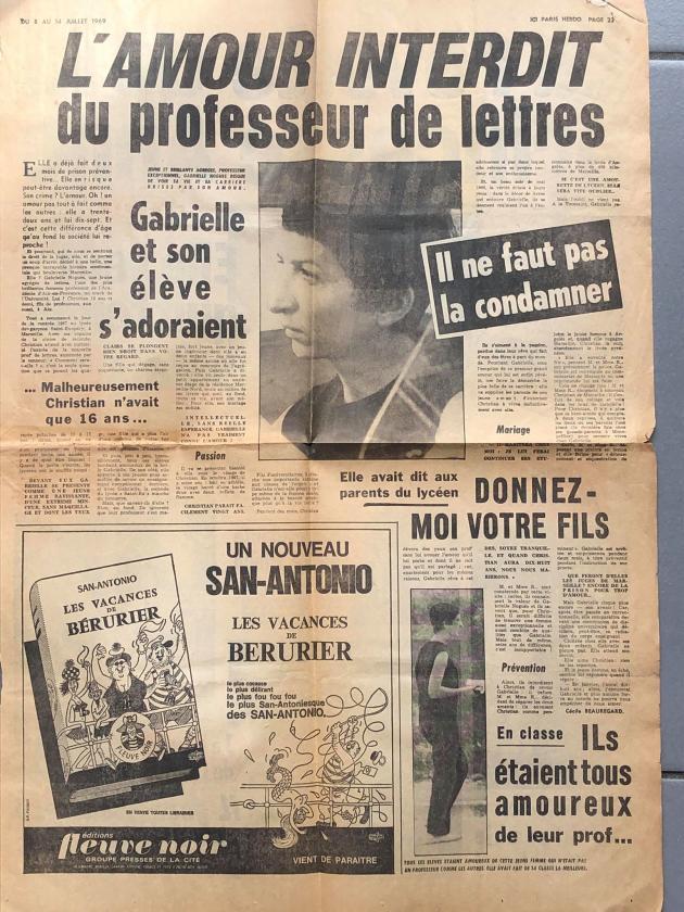 « L'amour interdit», publié dans «Ici-Paris» (8-14 juillet 1969).