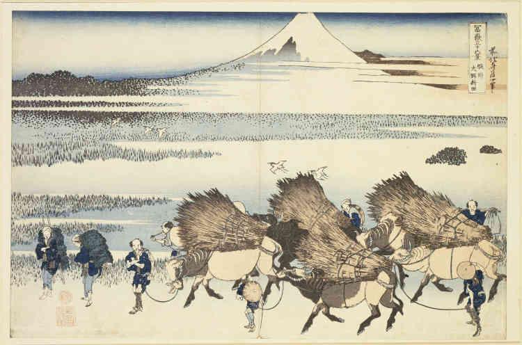 «Le Mont Fuji ne constitue ici que l'arrière-plan dégagé de ce point de vue sur la route du Tokaido. Au loin, le soleil se couche dans une légère brume tandis que des fermiers s'en retournent chez eux après une dure journée de labeur, chargés de roseaux. Entre les deux s'étendent des marécages déserts, à l'exception d'aigrettes en vol.»