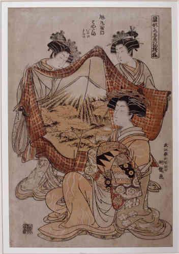 «Avec Koryusai, contemporain d'Utamaro, nous repartons une génération en arrière, en cettepériode classique de l'ukiyo-e (« monde flottant ») qui célèbre les lieux de plaisirs avec sesacteurs et ses courtisanes. Nous en voyons ici une en train de se choisir un costume assezextravagant, orné d'une représentation du mont Fuji – ce qui atteste de la popularité extrêmede ce symbole du Japon.»