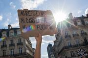 Manifestation à Nantes,le 10 juillet 2020,contre la nomination de Gérald Darmanin au poste de ministre de l'intérieur.