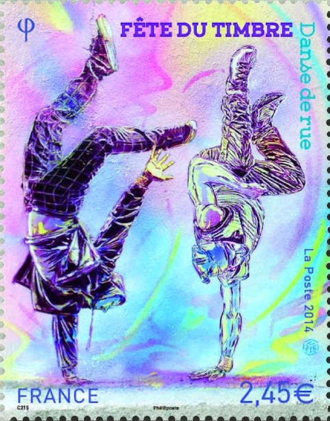 La Fête du timbre 2014 vue par C215 (mise en page de Valérie Besser).