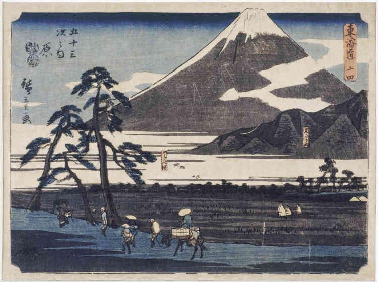 «Si Hokusai est célèbre, avant tout, pour sa série des Trente-six vues du mont Fuji, Hiroshigel'est, lui, pour celle des Cinquante-trois relais du Tokaido. Le Tokaido était la plus importante route du Japon reliant la capitale politique et économique d'Edo (actuelle Tokyo) à la capitale impériale de Kyoto. Elle longe et contourne le Fuji et offre de multiples points devue sur la montagne sacrée».