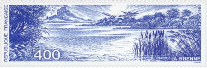 La Brenne, timbre dessiné et gravé par Jacques Jubert (1989).