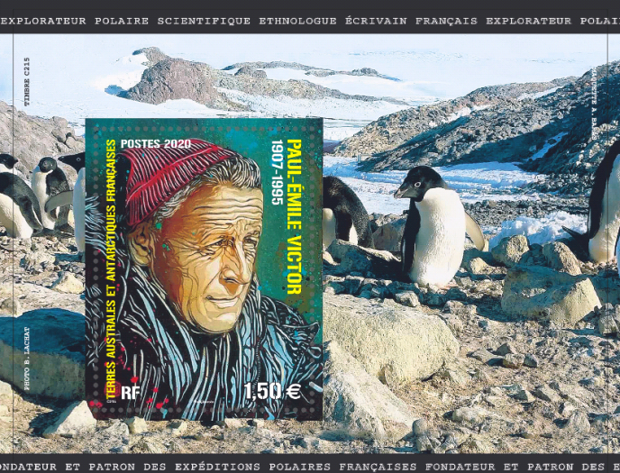 Maquette du timbre à l'effigie de Paul-Emile Victor, édité par le territoire des Terres australes et antarctiques françaises, en vente en novembre, dans le cadre du Salon philatélique d'automne.Création: C215 d'après photo de Bertrand Lachat. Mise en page: Aurélie Baras.
