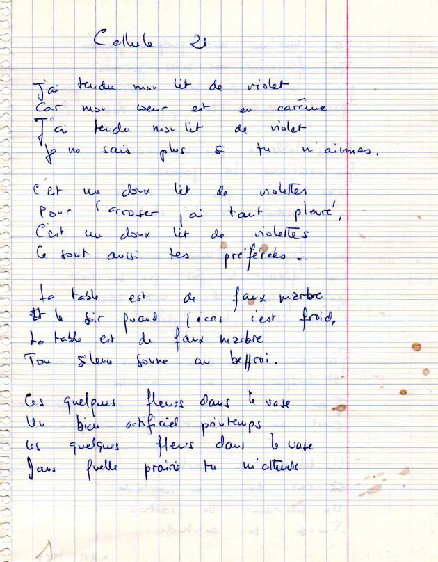 Poème écrit par Gabrielle Russier en prison.