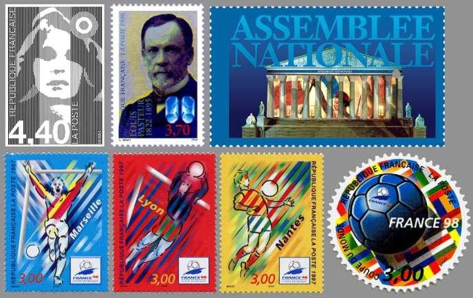 Sélection de timbres réalisés par Louis Briat poiur la France.