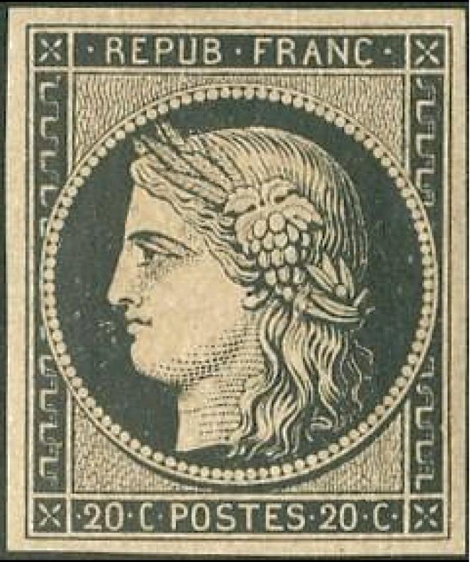 Le premier timbre-poste de France, paru le 1er janvier 1849, à l'effigie de Cérès, dessiné et gravé par Jacques-Jean Barre.