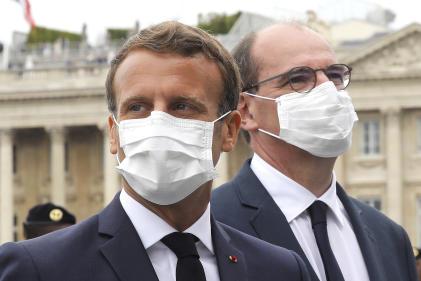 Le président Emmanuel Macron et le premier ministre Jean Castex à l'issue du défilé militaire du 14-Juillet à Paris.