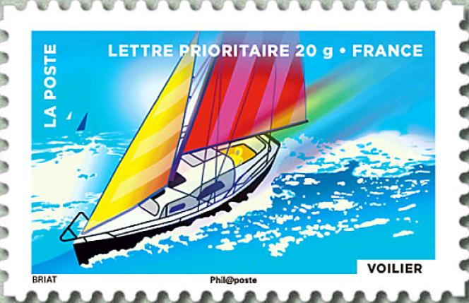 Timbre conçu par Louis Briat pour un carnet de la Fête du timbre, en 2013 (« Le timbre fête l'air»).