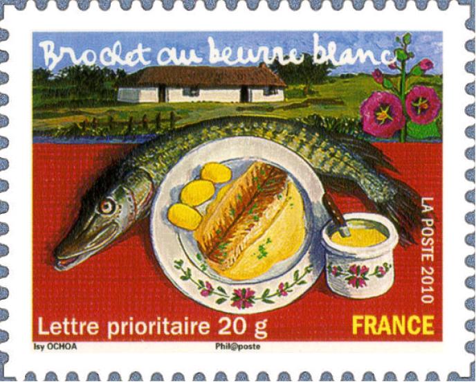 « Brochet au beurre blanc», (2010), par Isy Ochoa. Timbre du feuillet«Les saveurs de nos régions».