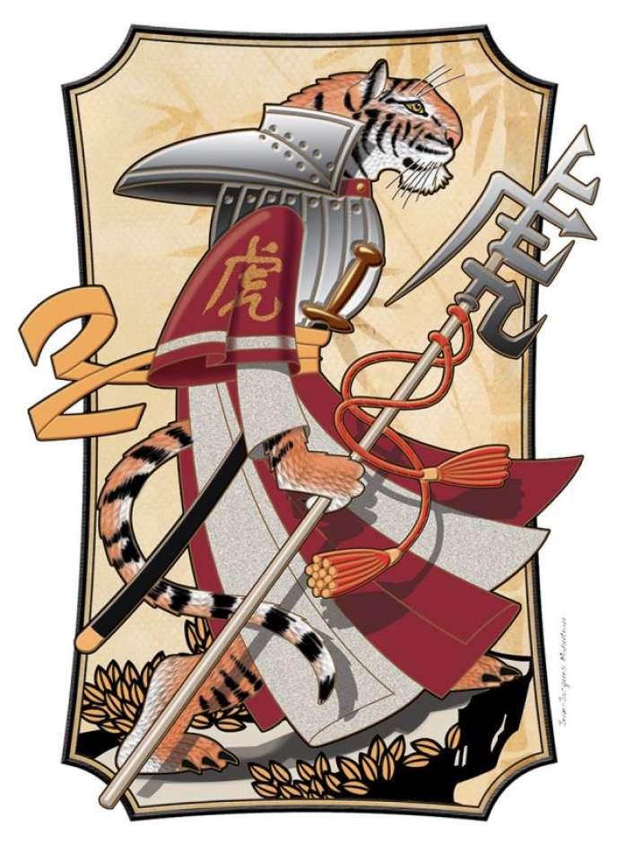 «Tigre manga», aquarelle et dessin numérique de Jean-Jacques Mahuteau, illustration du zodiaque chinois pour le «Livre des timbres de Nouvelle-Calédonie», 2010.