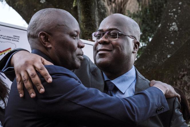 Vital Kamerhe (à gauche) et le futur président congolais Félix Tshisekedi, à Nairobi, en novembre 2018.
