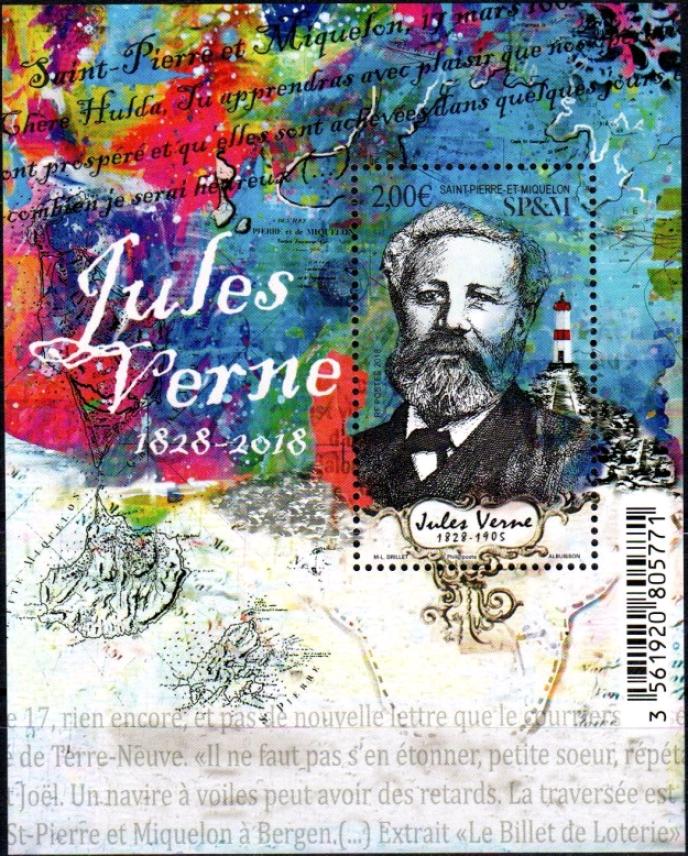 Bloc-feuillet Jules Verne, par Marie-Laure Drillet (2018).