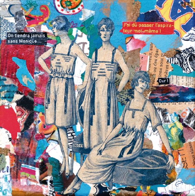 Tableau de Marie-Laure Drillet, série« Confidences de confiné.e.s»,« Petit personnel confiné, ça craint, pour certains», 2020.