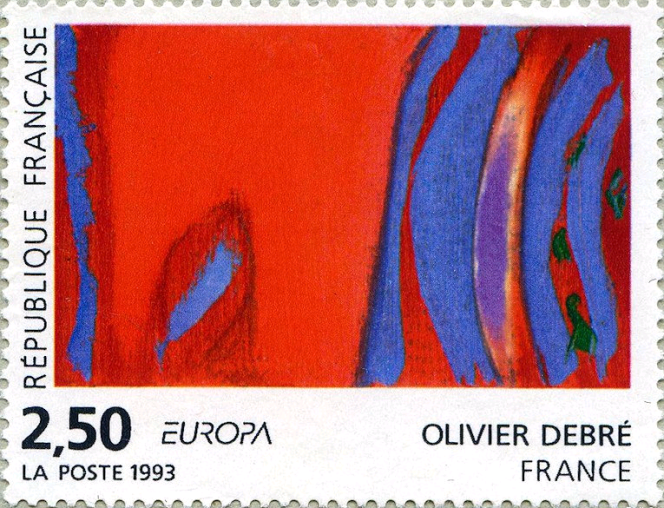 Timbre d'Olivier Debré, paru en 1993.