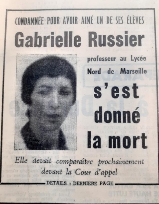 «Gabrielle Russier s'est donné la mort», «Le Méridional», le 4 septembre 1969.