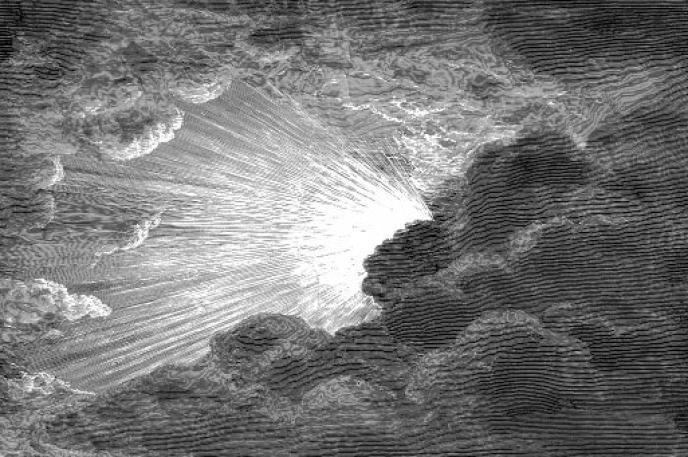 La création de la lumière, gravure de Gustave Doré (XIXe siècle).