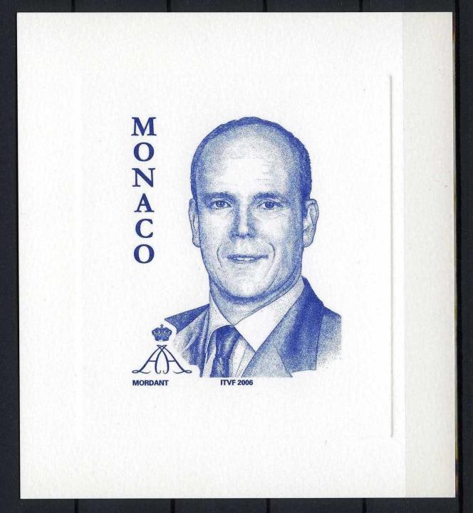 Le prince Albert II de Monaco, par Thierry Mordant (timbre paru fin 2005).