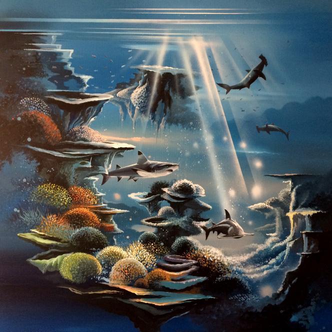 « Hommage au monde marin», toile de Thierry Mordant pour une idée de timbre-poste...