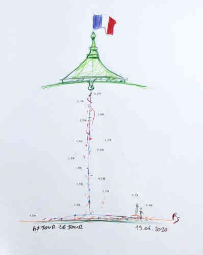 Il poursuit :«Aujourd'hui cette ligne mesure plus de 45mètres de long et serasuspendue au clocheton situé au milieu de la nef »– comme le suggère ce dessin.