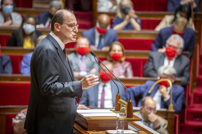 Jean Castex, premier ministre, prononce son discours de politique générale à l'Assemblée nationale à Paris, mercredi 15 juillet.