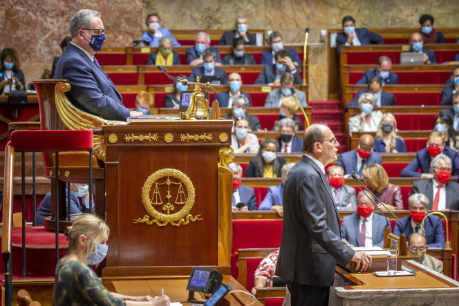 Le premier ministre, Jean Castex, lors de son discours de politique générale devant l'Assemblée nationale, le 15 juillet 2020.