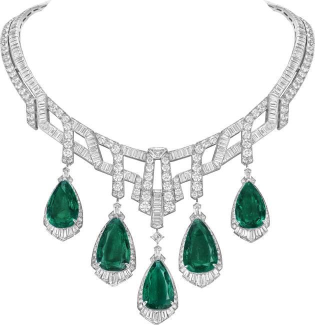 Collier Merveille d'émeraudes, or blanc, émeraudes poire diamants, Van Cleef & Arpels.