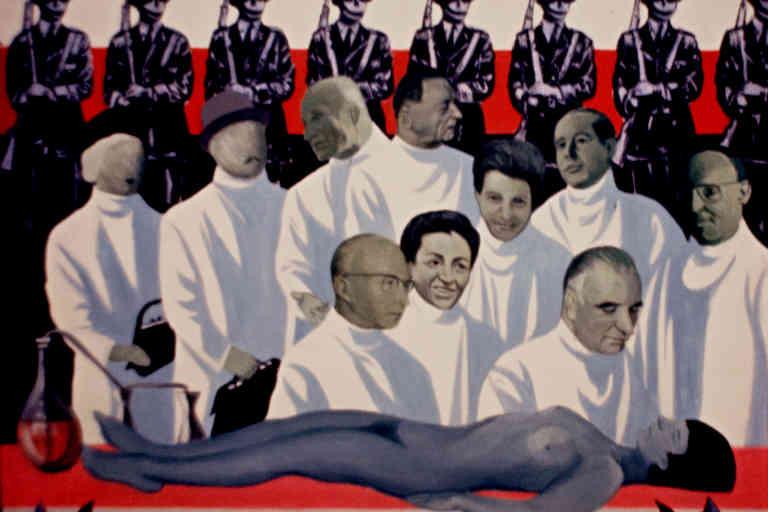 Exposition en avril 1970 au musée d'Art moderne de la ville de Paris «Qui tue?ou L'affaire Gabrielle Russier». Coopérative des Malassis