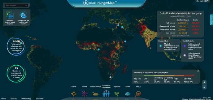 Carte mondiale de la faim actualisée en temps réel par les équipes du Programme alimentaire mondial (PAM), une agence des Nations unies.