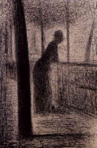 """«Signac écrivait au sujet de Georges Seurat :""""Ce sont les plus beaux dessins de peintres qui puissent exister."""" Sur un papier grumeleux, une figure féminine mène ici à la rêverie et à l'évasion.»"""