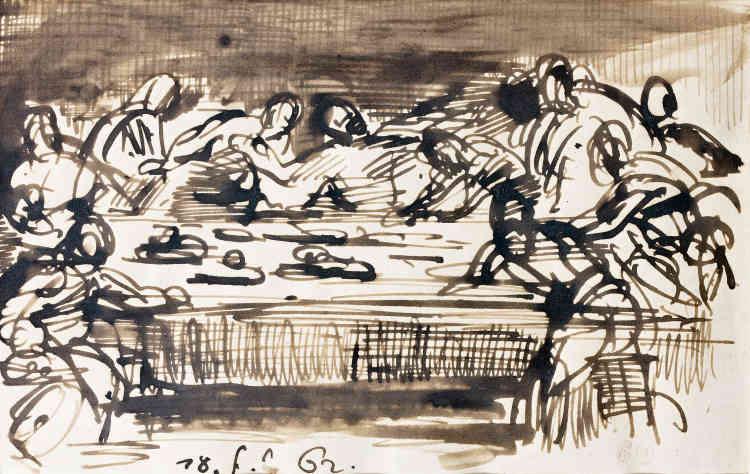 «Ce dessin à la plume fait partie d'une série qu'Eugène Delacroix a exécutée un an avant sa mort. Le sujet est inspiré des scènes de l'Ancien et du Nouveau Testament.»