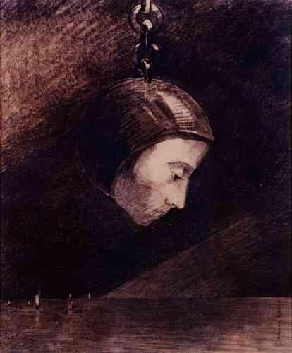 """« Cet artiste séduit le plus souvent pour son côté symboliste et ses coloris. Ce qui nous a plu est la période où Odilon Redon réalisa ses""""noirs"""", vers 1880: des personnages monstreux ou alors des têtes coupées légèrement souriantes dont la composition reste particulière, comme suspendue.»"""