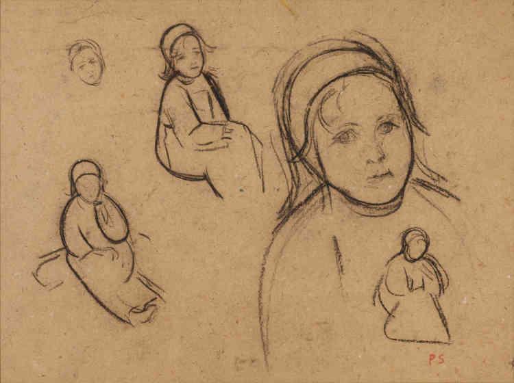 """« Ce dessin précède un tableau important : """"Solitude"""", peint en1891, où l'on retrouve le même personnage (une enfant bretonne à l'air sage).C'est l'époque où se fréquentent Emile Bernard et Gauguin à Pont-Aven dès l'année 1886.»"""