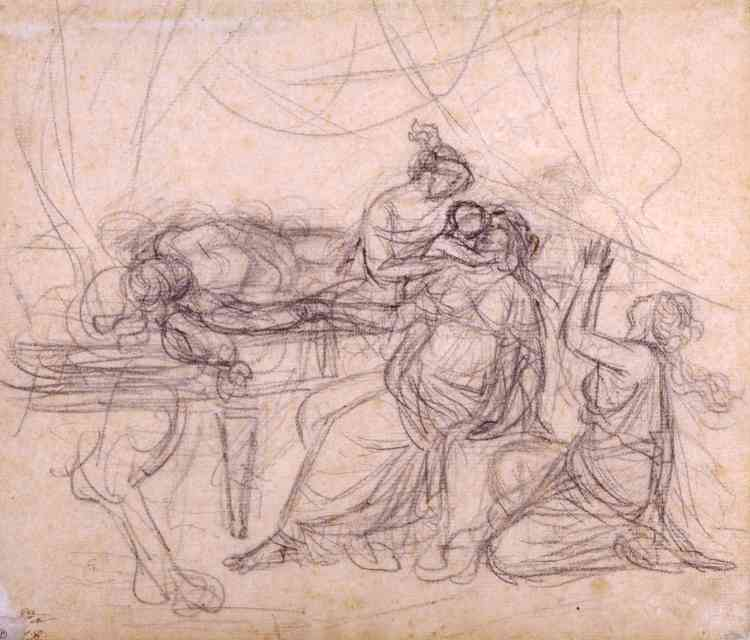 « Le dessin –qui fait partie d'un ensemble de cinq croquis préparatoires – précède le célèbre tableau du même nom réalisé en1783.»